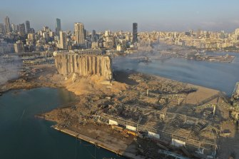 A drone picture shows the scene of an explosion that hit the port of Beirut in August.