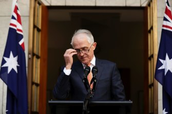 Malcolm Turnbull at his final press conference as PM, in August 2018. Turnbull quit politics after being deposed, rather than take a seat on the backbench.