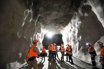 Dark matter lab under construction a kilometre underground at a former mineshaft in Stawell gold mine.