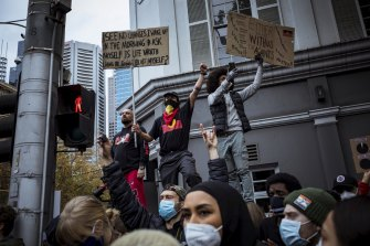 Protesters urging action on Indigenous deaths in custody at the Black Lives Matter rally in Melbourne.