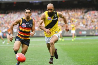 Eddie Betts, left, pictured during the Crows' 2017 grand final loss, found elements of the club's camp offensive.