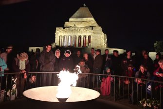The 2019 Anzac Day dawn service at Melbourne's Shrine of Remembrance.