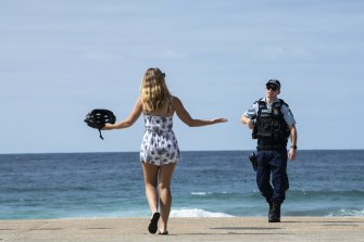 Police at Maroubra Beach in Sydney on March 28.