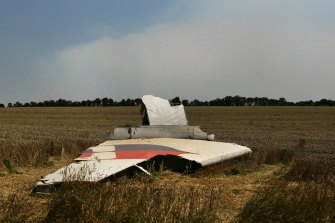 A portion of the MH17 wing lies in the field as smoke rises behind the tree-line.