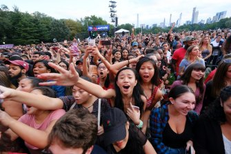 Fans enjoy the Shawn Mendes performance at the 2018 Global Citizens Festival in Central Park.