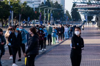 Western Sydney students lining up to be vaccinated at Sydney Olympic Park earlier this month.