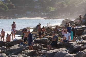 Crowds at the beach in Sydney's eastern suburbs on the weekend.