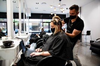 Hairdresser Tony Boutsalis from Salt Hair in Coogee with customer Helen Appleton.