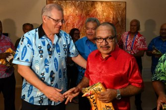 Prime Minister Scott Morrison with Peter O'Neill - then Papua New Guinea's Prime Minister – after APEC in November 2018.