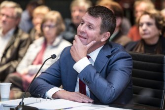 Former Premier of NSW Mike Baird gives evidence at the Upper House inquiry into the Powerhouse Museum's proposed move to Parramatta.