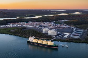 Gas cargo being loaded for export at Gladstone. Australia is the world's biggest exporter of liquefied natural gas.