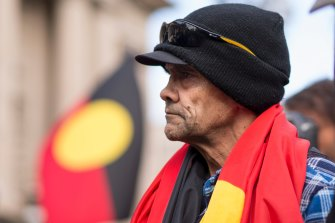 Aboriginal activist Robbie Thorpe, Lidia Thorpe's uncle, leads a rally on the steps of Victoria's Parliament in 2017.