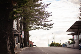 Byron Bay was deserted on Tuesday.