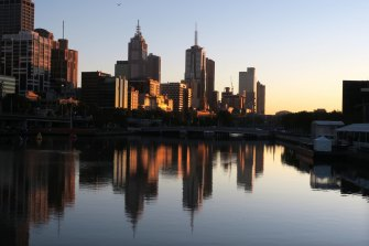Melbourne skyline at dawn. The city is expected to overtake Sydney as the nation's most populous by 2026.