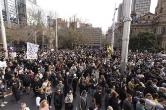 The protests in the Sydney CBD on Saturday.