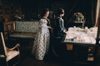 Olivia Colman and Rachel Weisz in The Favourite.