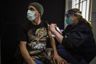 Simon at a vaccination clinic for the homeless and disadvantaged in July this year.
