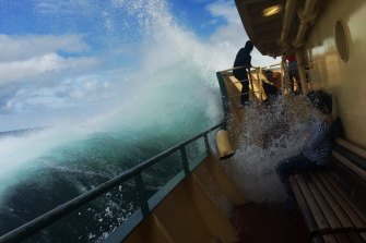 The Freshwater-class ferries have braved some large swells in their time.