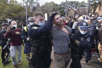 Police arrested 57 people at the anti-lockdown protest.
