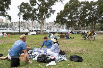 Rushcutters Bay was a popular picnic spot over the weekend after restrictions eased for the fully vaccinated.