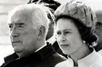 A retired Robert Menzies and Queen Elizabeth watch the Duke of Edinburgh at the Canberra Polo Club tournament in 1970.