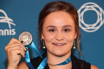 Ashleigh Barty after winning the 2018 Newcombe Medal alongside Alex de Minaur.