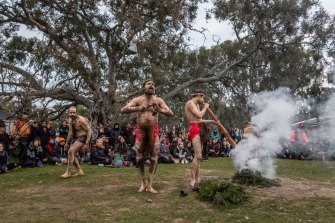Dancers performing ceremony in front of the Grandfather tree at Djab Wurrung Embassy camp, which is set to be cut down. This has not yet occurred.