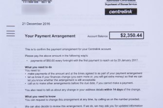 A Centrelink debt recovery notice received in December 2018.
