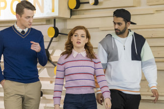 Michael Thomas Grant as Leif, Jane Levy as Zoey and Kapil Talkwalker as Tobin.