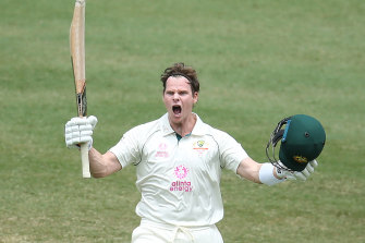 Steve Smith after hitting a century against India at the SCG in January.