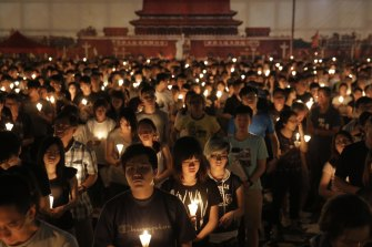 A candlelight vigil in Hong Kong in 2016 to remember the Tiananmen Square massacre.