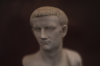 A marble bust of Caligula: the mosaic came from one of two ships the emperor had built as floating palaces.