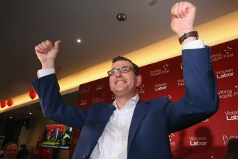 """Premier Daniel Andrews celebrating the historic election win. Labor expects to lose a swag of seats it """"accidentally"""" won in a landslide."""