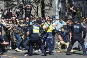 The protest in Melbourne on Saturday was attended by thousands, and turned ugly.