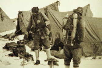 One of the last images of British climbers George Mallory (left) and Andrew Irvine (right), before their June 1924 climb to the summit. The men disappeared on the mountain.