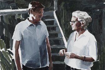 Archibald Prize 2019 finalist Clara Adolphs' Rosemary Laing and Geoff Kleem (in their garden).