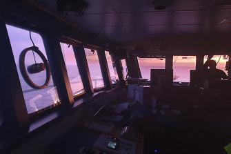 The San Aotea II fishing boat in the Southern Ocean.