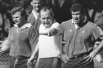 Alan Jones putting the Wallabies through their paces at training in 1987. In the mid-'80s, he was the all-conquering coach.