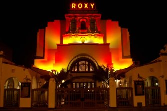 The ornate Spanish-styled Roxy Theatre.