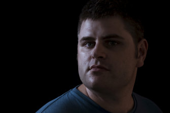 """Daniel Spain was discharged from the army suffering from depression. He is a part-time social worker at a hospital in Hervey Bay """"where I see people like myself coming in""""."""