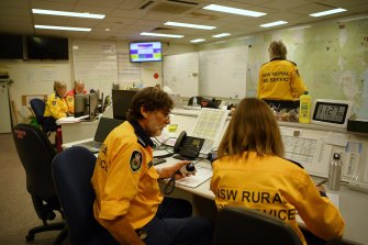 NSW RFS volunteers working in the operations room at the Eurobodalla operations fire control centre.