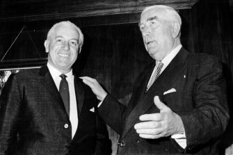 Harold Holt (left) with Sir Robert Menzies after Holt took over the reigns of power in January 1966.