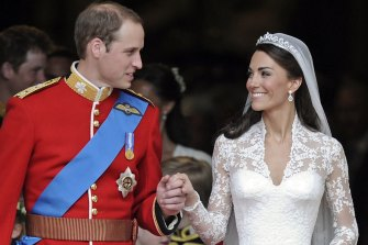 Prince William and his wife Kate, Duchess of Cambridge, outside of Westminster Abbey after their wedding on April 29, 2011.