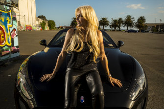 Areti Arvanitis, the wife of nursing home mogul Peter Arvanitis, with her Maserati.