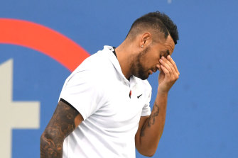 Kyrgios during a straight-sets loss to Mackenzie McDonald earlier this month.