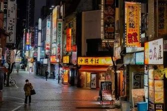 A general view of Tokyo's Shinjuku district after lockdown.