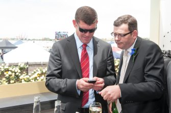 Daniel Andrews with James Packer in the Crown marquee on Derby Day in 2012.