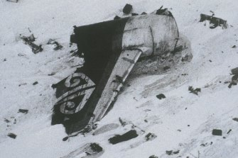 The tail section of an Air New Zealand DC10 plane is seen after it crashed into Mount Erebus in Antarctica in 1979.