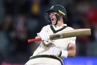 Count them: Marnus Labuschagne celebrates his century during day one of the second Test.