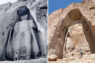 Before and after: The  shell of the destroyed Buddha statue in Bamiyan. On the left is the statue in 1977.